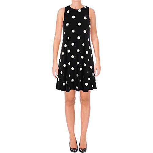 - LAUREN RALPH LAUREN Womens Suzan Polka Dot Above Knee Casual Dress B/W 16 Black/Cream