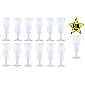140 pc Plastic Classicware Glass Like Champagne Wedding Parties Toasting Flutes Party Cocktail Cups