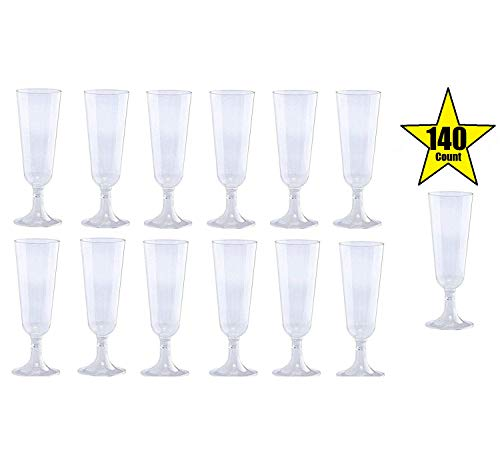 Wedding Party Toasting Flute - 140 pc Clear Plastic Classicware Glass Like Champagne Wedding Parties Toasting Flutes Party Cocktail Cups