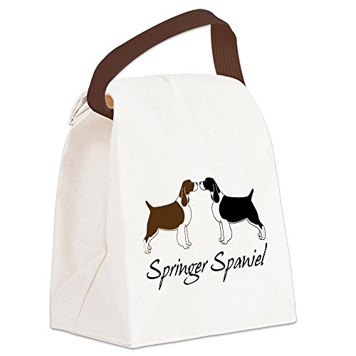 CafePress - Canvas Lunch Bag - Canvas Lunch Bag with Strap Handle - Black & White Springer