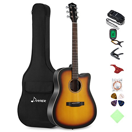 Donner Cutaway Sunburst Acoustic Guitar Package DAG-1S Beginner Guitar Kit With Bag Tuner Strap String Picks