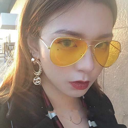 Korea Right zhilong Couple Lover Flying Men Man Retro Sunglasses yurt Plain Yellow Woman (Yellow (Gold Box)