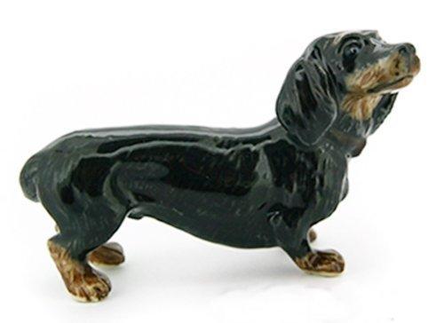 (3 D Ceramic Toy Black Dachshund Dog size M Dollhouse Miniatures Free Ship by ChangThai Design )