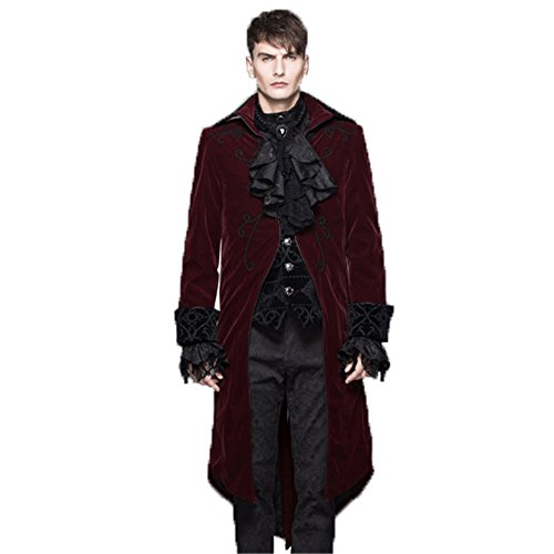Devil Costume Steam (Steampunk Winter Men Wool Coat Male Punk Gothic Long Jacket Stage Halloween Costume (L, Red))
