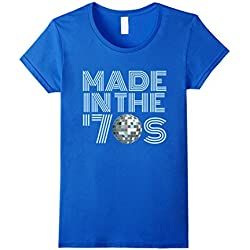 Womens Made in the 70s Shirt - Vintage 70s Retro T-shirt Disco Ball Medium Royal Blue