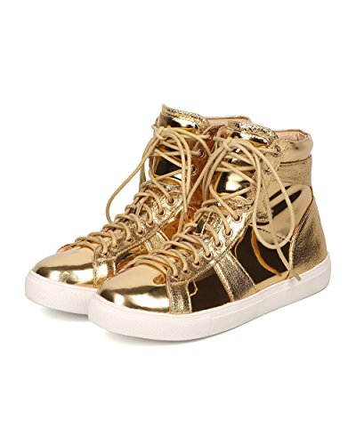 Liliana Dames Metallic Hoge Sneaker - Casual, Urban, Street Fashion - Veters Sneaker - Gd89 Van Goud