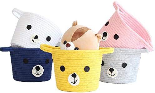 Panier à linge en corde de coton avec poignées en forme d'animal mignon - Pour bébé - Panier à linge - Panier de rangement pour jouets