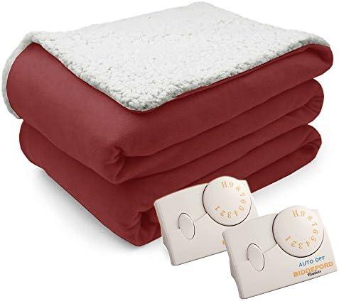 Biddeford 2060-9032138-780 MicroPlush Sherpa Electric Heated Blanket Twin Linen