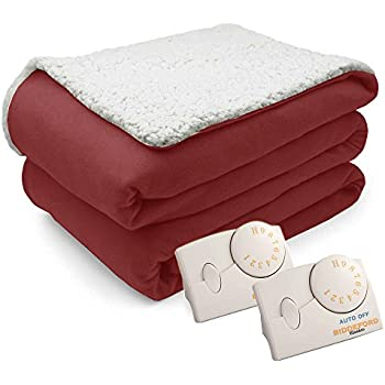 Pure Warmt Comfort Knit Natural Sherpa Electric Heated Blanket King Brick