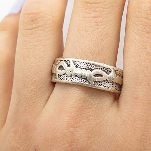 VTG 925 Sterling Silver Barbed Wire Design Wide Band Ring Size 11 3/4 Jewelry by Wholesale Charms