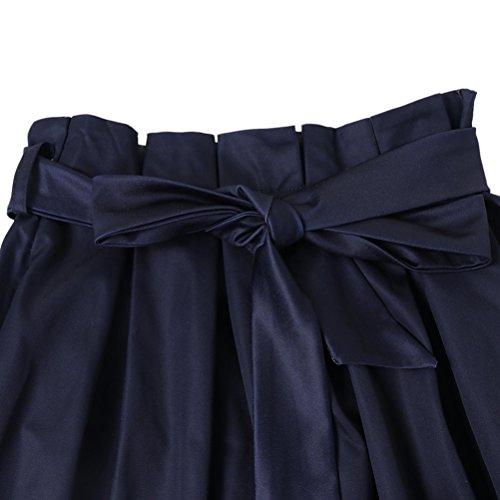 0e61e8f41 uideazone Mujer a línea máxima de rock alta cintura de plegado elegante  cocktial Party Evening Faldas largo