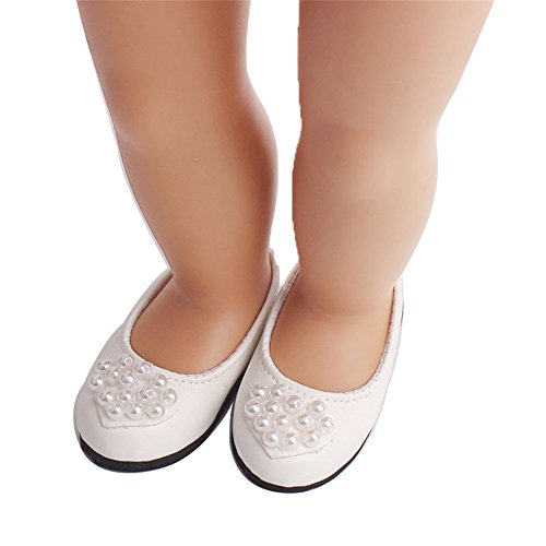Doll Shoes, Yamally_9R Doll Shoes Pearl Dress Shoe For 18 Inch Our Generation American Girl Doll (White)