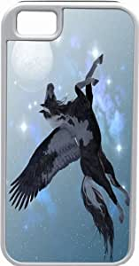 Rikki KnightTM Flying Pegasus Deisgn White Tough-It Case Cover for iPhone 5 & 5s(Double Layer case with Silicone Protection and Thick Front Bumper Protection)