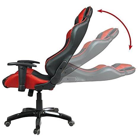 Silla de Oficina con Asiento Baquet Racing (Negro y Rojo): Amazon.es: Hogar