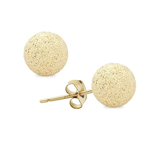 Glimmer Stardust 14K Yellow Gold Ball Studs Earrings 4MM-10MM (8MM) by JewelMore (Image #2)