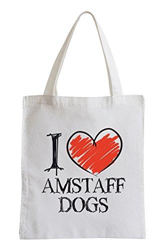 Io amo Cani Amstaff Fun sacchetto di iuta