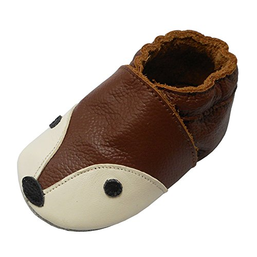YIHAKIDS Soft Sole Baby Shoes Infant Toddler Leather Moccasins Cute Fox Slippers (7-7.5 US/12-18 Mo./5.5in, (Soft Kid Leather)