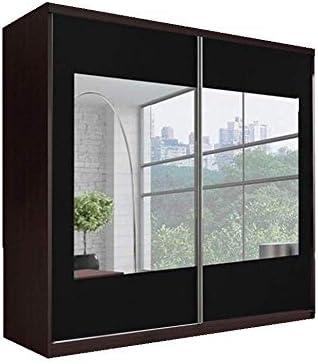 Armario con puerta corredera de 233 cm diseño «Reflexión» MULTI F03 Cambridge, con puertas de roble y de color negro con un espejo grande: Amazon.es: Hogar