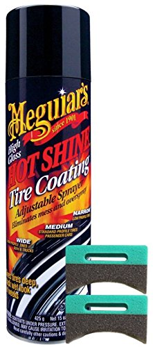 Meguiar's Hot Shine Tire Spray (15 oz) Bundle 2 Applicator Pads (3 Items)