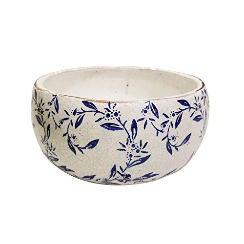 Newly Designed Old World Vintage Blue and White Ceramic Flower or Vine Pattern Garden pots Available 2 Sizes (Large, Vine Print)