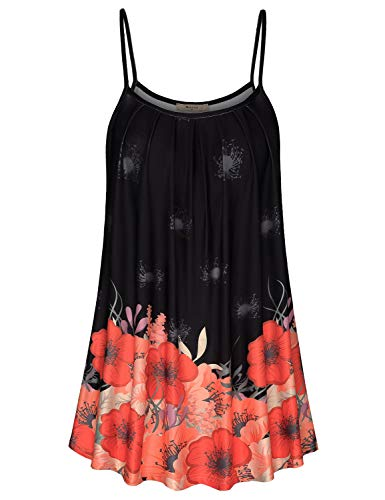 Miusey Dressy Tops for Women,Pleated Tunic Blouse Print Floral Scoop Neck A-line Camis Stylish Spaghetti Strappy Tanks Loose Stretchy Lovely Relaxed Fits Shorts Black XL
