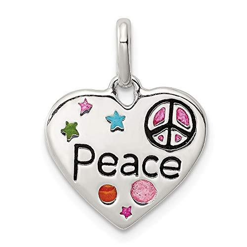 925 Sterling Silver Enamel Heart Peace Pendant Charm Necklace Fine Jewelry Gifts For Women For Her ()