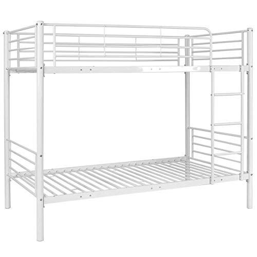 Costzon Twin Over Twin Bunk Bed, Metal Frame with Ladder for Teens Dorm Bedroom (White) For Sale