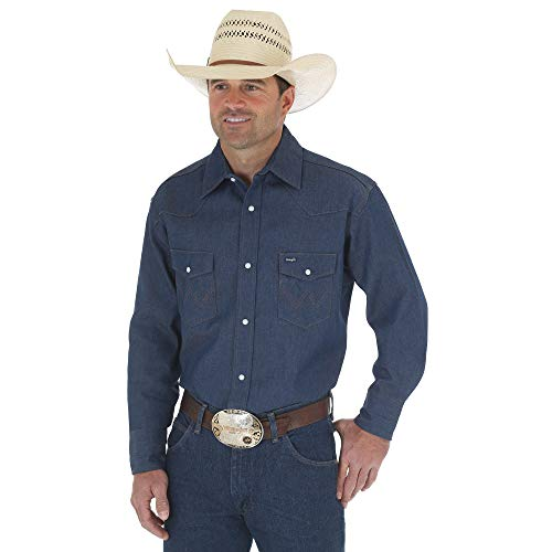 Wrangler Men's Authentic Cowboy Cut Work Western Long-Sleeve Firm Finish Shirt, Rigid Indigo Denim, X-Large ()