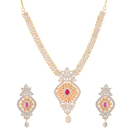 Swasti Jewels CZ Zircon Indian Fashion Jewelry Long Set Necklace Earrings for Women by Swasti Jewels