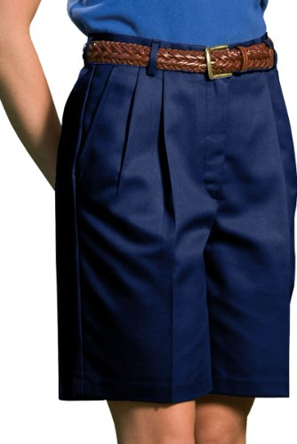 Ed Garments Women's Classic Fit Pleated Short, NAVY, 12 by Edwards Garment