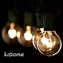 LIDORE G40 Globe Bulb Patio String Light Set with Clear Bulbs and 25.8ft Green Cord