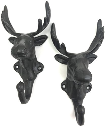 Antique Look Wall - Set of Two Antique Vintage Look Cast Iron Deer Head Hunter Single Hook Wall Decor
