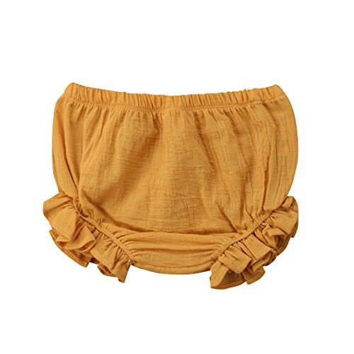 Mornbaby Baby Girl's Bloomers Cotton Ruffle Panty Diaper Covers Underwear Shorts Toddler Kids Girls (Yellow, 18-30 Months)