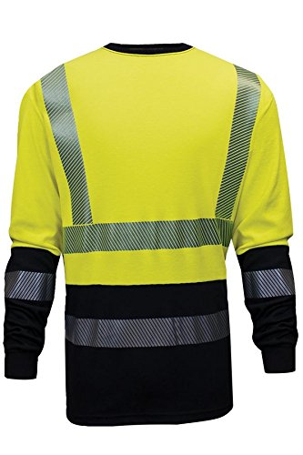 National Safety Apparel C54HYLSHC3SM FR Hybrid Long Sleeve T-Shirt, Small, Fluorescent Yellow/Navy by National Safety Apparel Inc