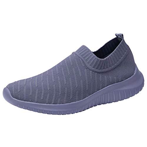 konhill Women's Lightweight Walking Shoe - Casual Mesh Tennis Slip-on Sneakers 12 US Grey, 44
