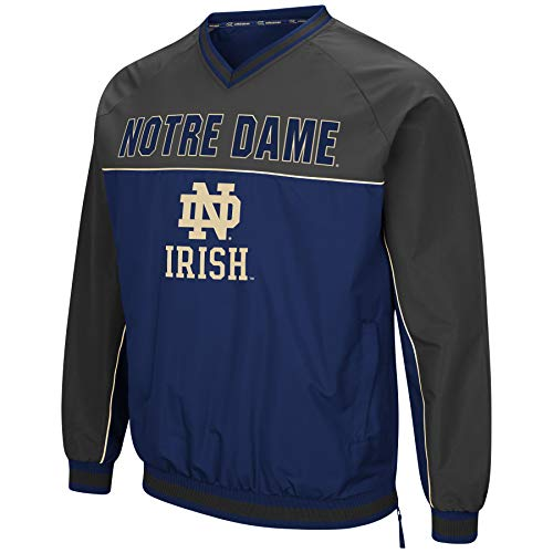 Colosseum Men's NCAA Athletic V-Neck Windbreaker Pullover with Tackle Twill Embroidery-Notre Dame Fighting Irish-Navy/Charcoal-Large