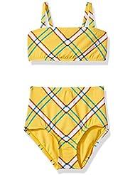 Hobie Girls' Big Bandeau Bikini Swimsuit Top and Hi Waist Hipster Bottom Set