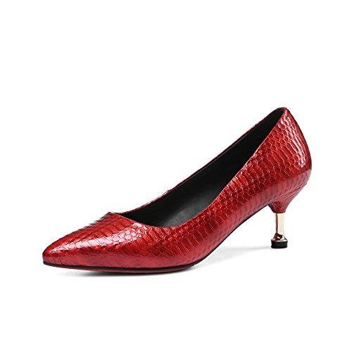 Nine Seven Cuero Moda Puntiagudos Tacones de Aguja de Serpiente de Vestir para Mujer Rojo