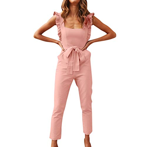(Hurrybuy Jumpsuit,Women Square Collar Sleeveless Linen Shirred Sleeve Rompers Ruffle Office Work Pocket Playsuit with Belt Pink)