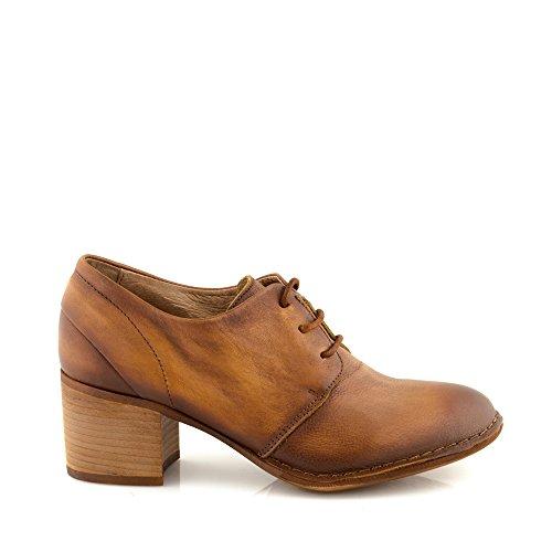 Felmini - Zapatos para Mujer - Enamorarse com Tau A109 - Zapatos Derby - Cuero Genuino - Marrón Marrón