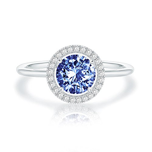 - Swarovski Crystal 14K White Gold Plated Birthstone Rings | White Gold Rings for Women | Sapphire Ring
