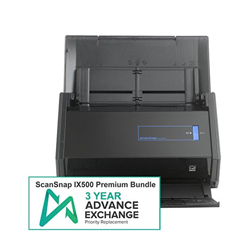- Fujitsu ScanSnap iX500 Premium Bundle with 3 Year Advanced Exchange Warranty
