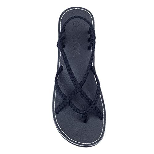 Plaka Flat Sandals for Women Black Size 7 - Woven Sandals Ankle Strap