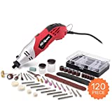 Hi-Spec High Speed Rotary Tool Kit with Variable Speed & 120pc Universal Accessory Set - Electric Rotary Drill, Sander, Grinder, Cutting & Polishing Tool - DREMEL & WEN Accessories Compatible (1.4A)