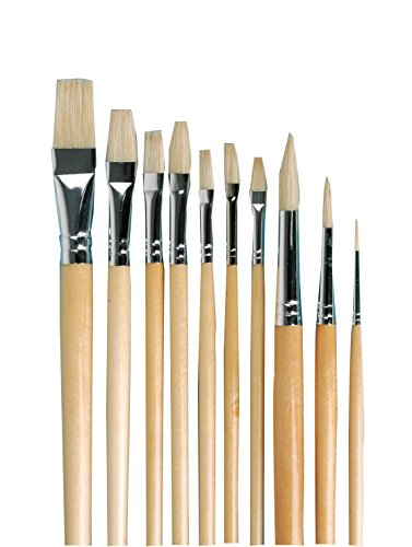 School Specialty 462008 Oil Color Paint Brush Set, Long Handle, Assorted Sizes (Pack of 10)