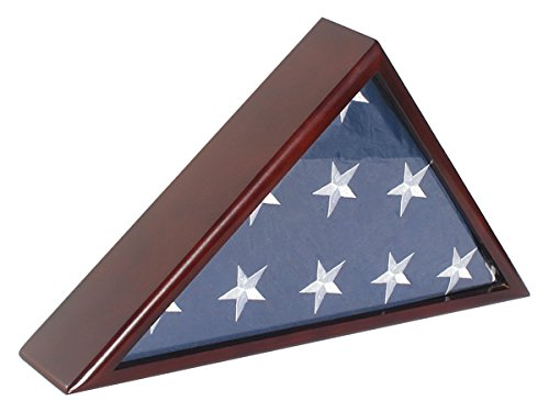 SOLID Wood Memorial Flag Case Frame Display Case for 5x9.5' Flag folded. For Funeral or Burial Flag, FC60-MAH