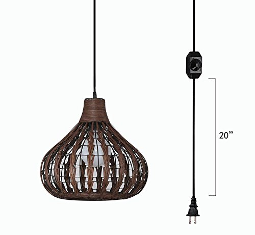 Rattan Chandelier Pendant Lighting E26 Base dimmable lamp 15 Foot Black Cord with Dimmer Switch Bulb not Included ul Listed (TB0241) ()