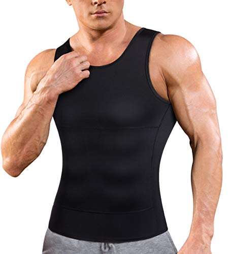 Eleady Men Compression Shirt Shapewear Slimming Body Shaper Vest Abdomen Undershirt Workout Tank Tops (Small, Black Compression Tops)