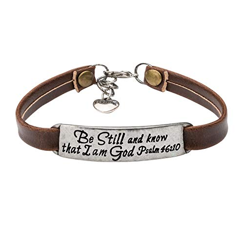 Yiyang Inspirational Vintage Stretch Religion Bible Verse Leather Bracelet for Women Teens Christian Engraved OrnamentJewelry Gift (Be still and know that i am - Metal Religious