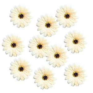 MagiDeal 10 Pieces Handmade 7cm Large Artificial Gerbera Silk Daisy Flowers Heads DIY Scrapbooking Flower Kiss Ball for Wedding Party Home Decorations 38